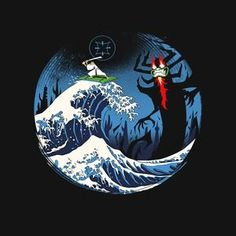 """""""The Great Battle"""" by Vincent Trinidad Samurai Jack, Aku, and The Great Wave off Kanagawa New Artists, Print Artist, Cool Artwork, Trinidad, Pop Culture, Piercings, Battle, Poster Prints, Drawings"""