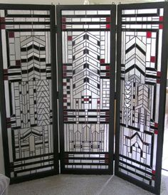 Art Deco Glass/Wood Screen