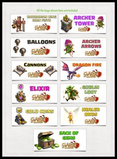 Clash of Clans Survival Kit - 11 Unique Party Goody Bags - Print your own - for 6 inch Snack Bags Birthday Candy, Boy Birthday, Bolo Clash Royale, Video Game Party, Video Games, Candy Labels, Royal Party, Food Tent, Star Wars Party