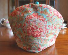 Shabby Chic Turquoise and Pink Rose Floral Cotton Print Insulating Fabric Tea Cosy / Cozy with Custom Matching Polymer Clay Bead Pull Top $50.00 CAD