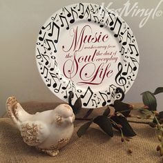 Decorative Charger Plate Music Soul Life Handmade by VastVinyl