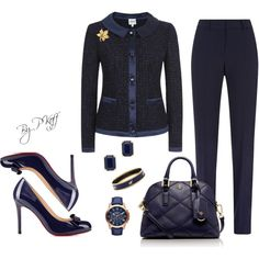 Fall Office Attire by pkoff on Polyvore featuring Armani Collezioni, Christian Louboutin, Tory Burch, Halcyon Days, Kate Spade, Susan Caplan Vintage and FOSSIL