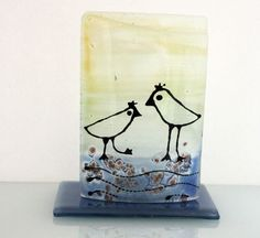 Candle Holder Bird landscape  fused Glass art by virtulyglass, $40.00