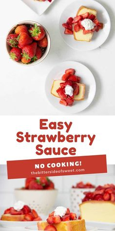 This Easy Strawberry Sauce Recipe is made with just two ingredients and there is no cooking involved! Perfect on cake, ice cream, or granola!   The Bitter Side of Sweet Delicious Breakfast Recipes, Best Dessert Recipes, Fun Desserts, Sweet Recipes, Yummy Recipes, Delicious Desserts, Yummy Food, Jelly Recipes, Fruit Recipes