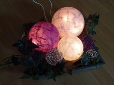 Leuchtkugeln-Lilatoene-3er-Kugellampe-Acrylkugeln für den Dekoteller im Wohnzimmer