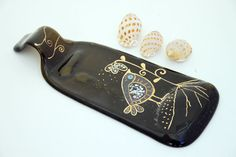 Recycled Brown Wine  Bottle Serving Tray/Cheese by virtulyglass, $38.00