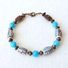 Bracelet Ethnique Femme, Fête des Mères, Bracelet Africain, Bracelet Perles Bohème, Boho Chic, Bijou Turquoise : Bracelet par bleuluciole