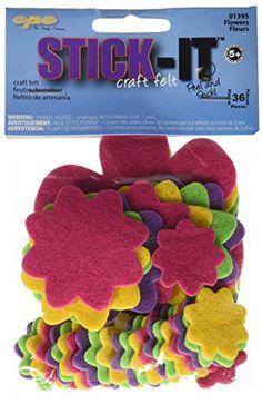 Kids' Felt Craft Kits - Stick It Felt Shapes 36PkgFlowers >>> Want additional info? Click on the image.