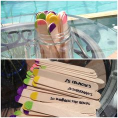 My Popsicle stick workout fun plan! Way to shake up your workout! For strength workout days ! Green sticks=upper body, pink sticks=cardio, yellow sticks=core, purple sticks=lower body... For full body workout pick 5 sticks from each category. Or pick one focus group and do all that colors sticks, 2 sets each. Contact me for the workouts list!