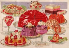 All the lovely possibilities. Such gorgeous printing in this chromolithographed recipe booklet. From The Jello Bride.  Cowan Ephemera Collections.