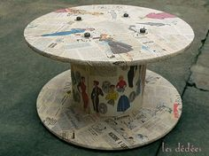 "Les dedees : vintage, recup, creations: TABLE BOBINE DE CHANTIER ""MODE 50'S"" by les Dédées"