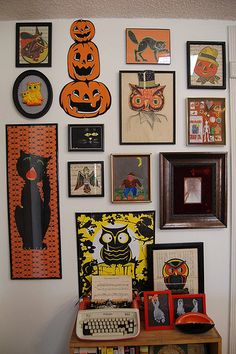 Vintage Halloween art gallery wall - iLoveToCreate Blog: How to Frame a Collection of Halloween Toys