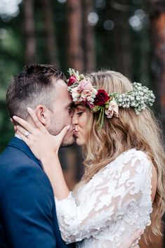 bohemian wedding - love the navy suit, the dress, and the romantic floral crown!