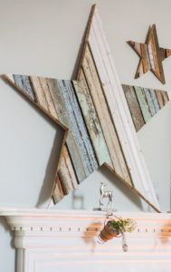 How to DIY a GIANT wooden star- Beautiful reclaimed wood project for Christmas(Mix Wood Projects) Christmas Mantels, Noel Christmas, Christmas Decorations, Star Decorations, Rustic Christmas, Christmas Lights, Diy Projects To Try, Wood Projects, Craft Projects