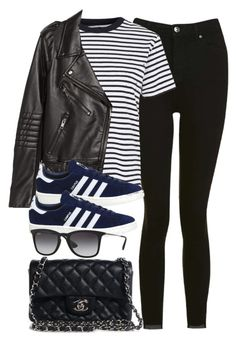 """""""Sin título #13343"""" by vany-alvarado ❤ liked on Polyvore featuring Topshop, H&M, adidas, Chanel and Ray-Ban"""
