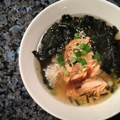 Ochazuke-A simple dish of green tea poured over cooked rice often with seafood such as salmon.