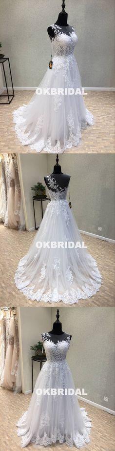 Long Tulle Cheap Applique Wedding Dresses, A-Line Lace Wedding Dresses – OkBridal