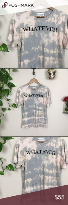 """☀️WILDFOX tee☀️ 🌻WILDFOX """"whatever"""" tee. Originally was a navy blue color. Custom dyed to this effect 😝 Size small, 100% cotton. Comfy fit  Gently used condition; two small holes on the front ✨If you like this, check my closet for other custom dyed items from a variety of brands✨  🙏🏼Offers welcome 