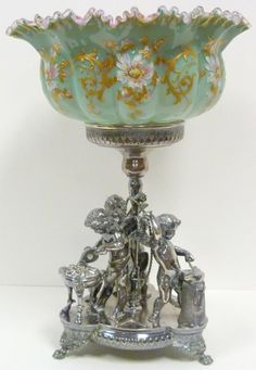 Victorian Art Glass | Antique Art Glass Compote. Victorian Bridal Basket (English put money ...