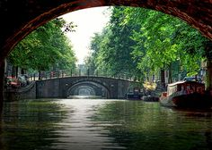 Amsterdam Canal and Bridges in the Dutch Netherlands Holland by the Amstel River - A Fine Art European Landscape Photograph