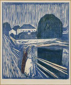 Edvard Munch - Chicas en el puente, 1918. Punta seca.