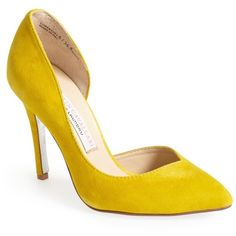 Kristin Cavallari by Chinese Laundry Copertina Half d'Orsay Pump ($80) ❤ liked on Polyvore featuring shoes, pumps, yellow, evening shoes, pointed toe pumps, special occasion shoes, yellow shoes and evening pumps