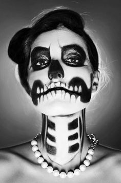 Pretty Scary ! Skull Makeup. Doing this & gonna ride my Harley around town on Halloween!