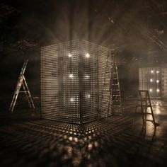 Cullen Projects builds glowing perforated boxes for London menswear shows