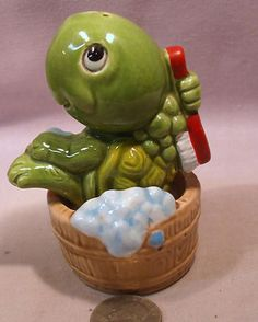 Vintage Turtle Taking A Bath in A Tub s P Shakers
