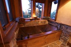"Copper Two Person Flat Bottom Soaking Bath 42"" x 72"" x 24"" Designer: High Camp Home/ High Sierra Customs"