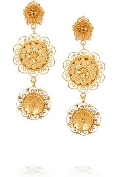 967237d08bfe Dolce   Gabbana - Filigree gold-plated Swarovski crystal clip earrings