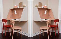 Construa sua própria escrivaninhas. Projetos para inspiração e tutorial (is) faça você mesmo. // faça você mesma, DIY, inspiração, decoração, ideia, tutorial, madeira, marcenaria, escrivaninha, volta as aulas, escola, quarto de adolescente, mesa, mesa sem pé, mesa flutuante, geométrica