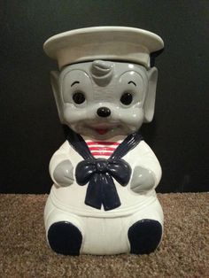Vintage One Of A Kind Hand Painted Twin Winton Sailor Mouse Cookie Jar