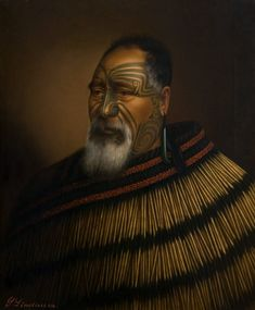 Gottfried Lindauer Paora Tuhaere, 1895 x cm, oil on canvas Auckland Art Gallery Toi o Tāmaki, gift of H. Maori People, Tribal People, Ta Moko Tattoo, Maori Tattoos, Tattoo Art, Auckland Art Gallery, Ww1 Posters, Polynesian People, New Zealand Art