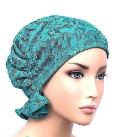 Turban Plus Abbey Cap closeouts Chemo Caps Cancer Hats For Women - Lace Sequin Turquoise (Stretch Lace) - Chemo Beanies, Head Scarf Styles, Hat Patterns To Sew, Turban Hat, Scrub Hats, Stretch Lace, Hats For Women, Sequins, Turquoise