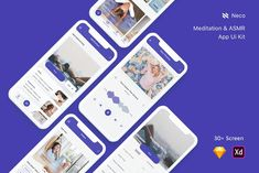 Ad: Meditation & ASMR App Ui Kit by Betush on Meditation and ASMR App Ui Kit is designed with modern design trends. Small or large scale, suitable for all businesses. Modifying the Desktop Design, App Ui Design, Journal App, Meditation Apps, Ui Kit, Asmr, Website Template, Libraries, Creative