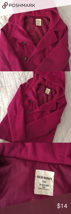Youth Girls Wool Pink Peacoat Girls size XL (14) pink wool Peacoat. Has been worn, but still in good condition besides some pilling. I will pick off any fuzzies before shipping. Shell is 60% wool, inside of hood is fleece lined. Thanks for looking! Old Navy Jackets & Coats Pea Coats