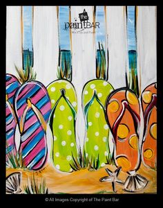 Great Summer project. Beach Flip Flops Painting - Jackie Schon, The Paint Bar