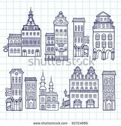 Sketchy hand drawn town templates - outlines of houses facades Vector Image – Vector illustration of Architecture, Buildings © bariskina House Sketch, House Drawing, Haus Vektor, Line Drawing, Painting & Drawing, House Doodle, Wal Art, Building Drawing, House Illustration