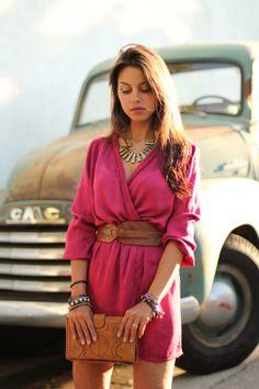 (Dress - inlovewithfashion.com, Cleobella clutch - stefanibags.com, Belt & Necklace - Forever 21, Pumps - Steve Madden, Bracelets - ShopBelina.com)