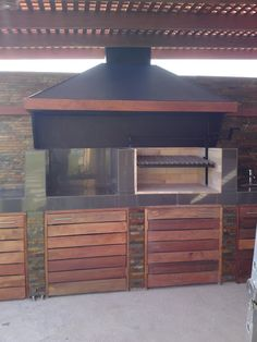 QUINCHO DUAL Outdoor Kitchen Grill, Outdoor Kitchen Design, Patio Design, Gazebo, Bbq, Backyard, Outdoor Structures, Outdoor Decor, Kitchens