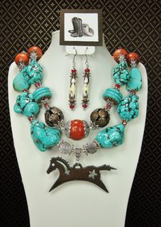 Your place to buy and sell all things handmade Cowgirl Jewelry, Western Jewelry, Rodeo Cowgirl, Country Jewelry, Cowboys And Indians, Southwest Style, Trendy Accessories, Mosaic Patterns, Bead Caps
