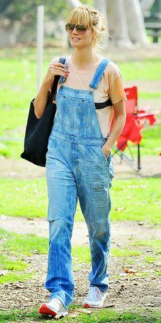 Heidi Klum overalls    discover 10 celebs wearing overalls on http://schulmanart.blogspot.com/2014/05/discover-how-10-celebrities-rock-artist.html