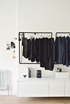 A minimal open wardrobe diy for your bedroom - DIY home decor - Your DIY Family This DIY hanging clothes rack is a real space saver in a bedroom. I've paired it with ikea hack k Bedroom Storage Ideas For Clothes, Small Bedroom Storage, Clothing Storage, Storage Room, Small Bedrooms, Ikea Storage, Clothing Racks, Small Storage, Storage Boxes