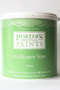 Although wallpaper can be directly pasted to clean previously painted walls, to ensure the best outcome and longevity on your job we recommend using Porter's Wallpaper Size. The benefits of using a wallpaper size: Size evens out the porosity of the substrate, which in turn, allows the wallpaper paste to dry uniformly. Size makes wallpaper easier to hang by allowing a bit of slippage so wallpaper can be accurately slid into place. Size enhances the holding power of the paste. Wallpaper Paste, Wallpaper Size, Painting Wallpaper, Painted Walls, It Is Finished, Canning, Easy, How To Make, Wallpaper