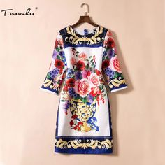Truevoker Designer Dress Women's High Quality Half Sleeve Vintage Floral Oil Painting Printed Jacquard Plus Size XXL