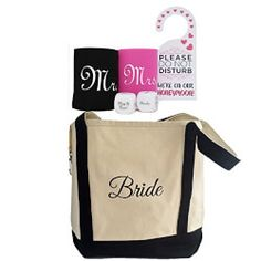 Bridal Shower Gift - Bride Canvas Tote and Honeymoon Survival Kit (Bride and Groom Cup Holders, Honeymoon Decision Dice and Do Not Disturb Door Hanger) Honeymoon Survival Kits, Best Bridal Shower Gift, Best Gift Baskets, Unique Wedding Gifts, Gift Wedding, Honeymoon Gifts, Bachelorette Party Gifts, Tea Gifts, Bride Gifts