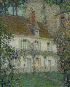 Henri Eugène Le Sidaner, The Artist's House at Gerberoy, 1932. catonhottinroof