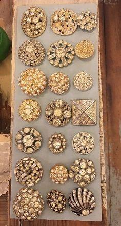 Antique Vintage Lot 21 Sparkly Rhinestone Metal Buttons | eBay