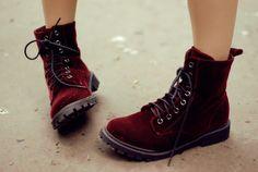 photography red fashion shoes style hipster vintage indie Grunge Boots dr martens doc martens velvet burgundy